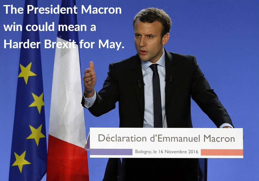 The President Macron win could mean a Harder Brexit for May